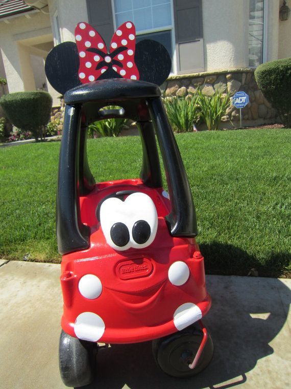 COMPLETED Wooden Ears and Bow with Minnie Mouse DIY Cozy Coupe Kit - NO Car Included