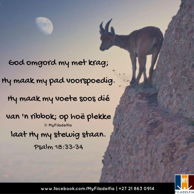 """""""God omgord my met krag; Hy maak my pad voorspoedig.Hy maak my voete soos dié van 'n ribbok; op hoë plekke laat Hy my stewig staan."""" (Psalm 18:33-34)"""