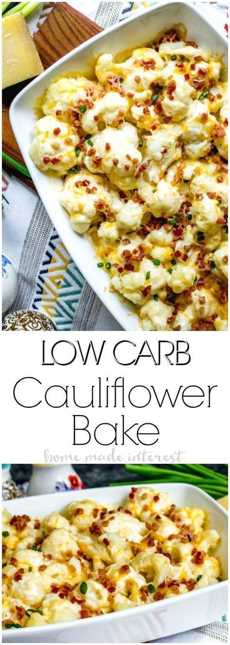 Low Carb Loaded Cauliflower Casserole | This is an easy low carb side dish recipe that make a great keto side dish recipe for Thanksgiving or Christmas! Low Carb Loaded Cauliflower Casserole is full of cheese and bacon and gives you all of the great tastes of a loaded potato dish without all of the carbs! #lowcarb #keto #ketogenicdiet #lowcarbrecipes #cauliflower