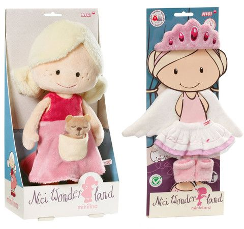 "Nici Wonderland MiniLina 12"" Machine Washable Plush Doll with Ballerina Tutu, Tiara, Leggings & Wings"