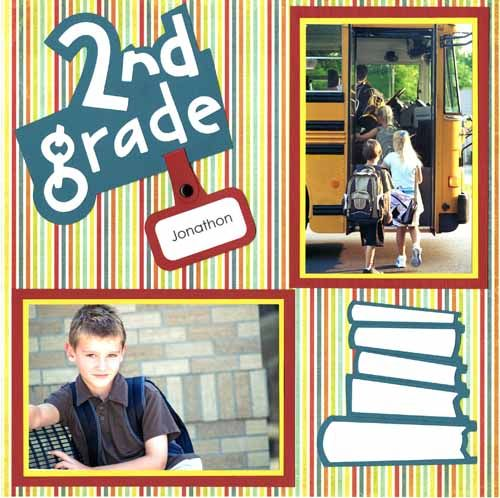 scrapebook layouts for school | ... Photo Gift :: School Premade Scrapbook Layouts :: Grade School Boy