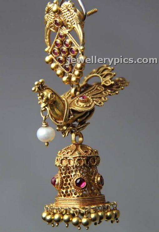 22k Gold antique jhumka by Bhima jewellers - Latest Jewellery Designs