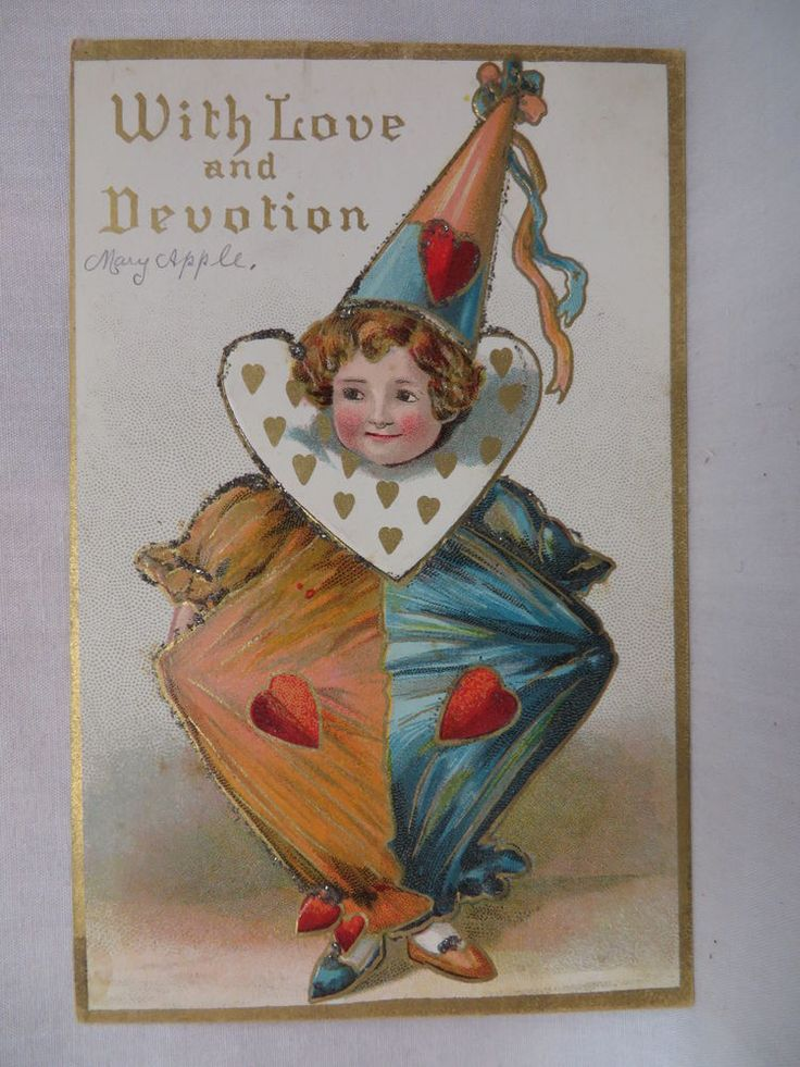 VINTAGE EMBOSSED VALENTINES POSTCARD A CHILD IN A CLOWN SUIT WITH GLITTER #ValentinesDay