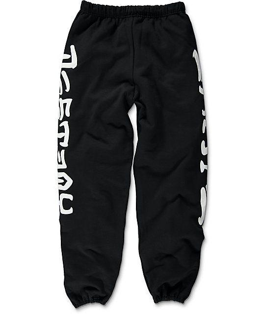 When your skate sesh gets rained out, grab the Skate And Destroy black sweatpants from Thrasher and binge on your favorite skate videos. The black fleece lined colorway features white screen printed Skate on one leg and Destroy on the other and offer stor