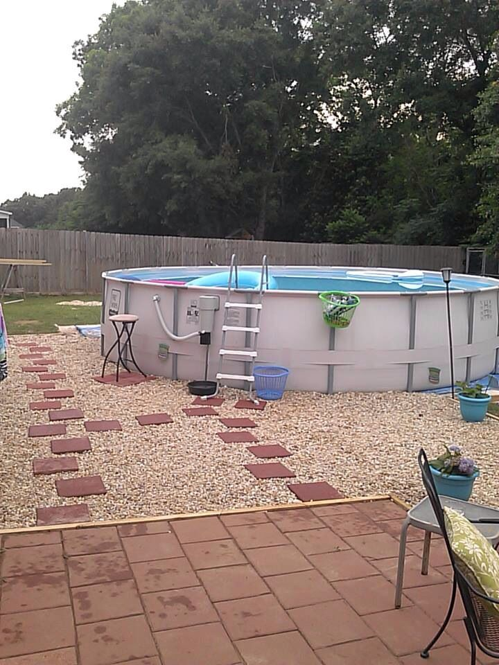 Landscaping around above ground pool outdoors pinterest for Above ground pool border ideas