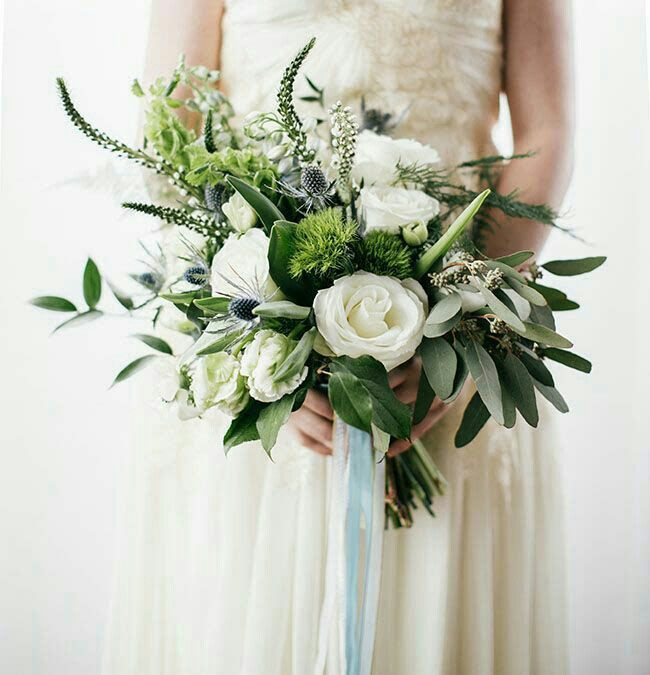 "Absolutely Lovely Bridal Bouquet Featuring: White Lisianthus, White Veronica, White Delphinium, Blue Eryngium Thistle, Green Parrot Tulips,  Green Trick Dianthus, Green Bells Of Ireland, Green Eucalyptus + Several Additional Varieties Of Greenery/Foliage Hand Tied With White & ""Something Blue"" Ribbons^^^^"