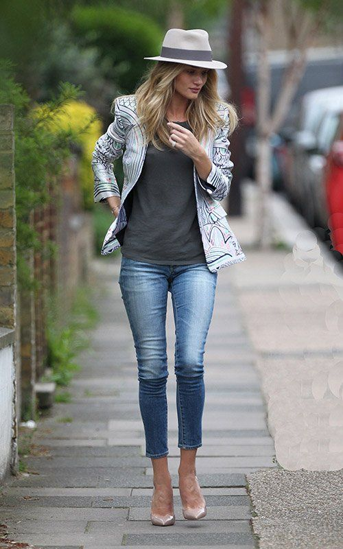 I love Rosie Huntington Whiteleys street style in a Maison Michele fedora, printed blazer and nude pumps