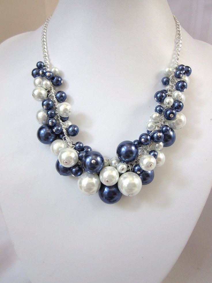 Pearl Cluster Necklace in Navy and White- Chunky, Choker, Bib, Necklace, Wedding, Bridal, Bridesmaid. $42.50, via Etsy.