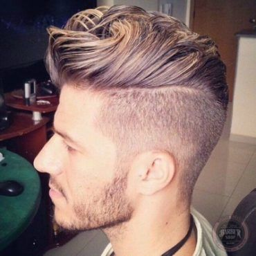 mens blonde highlights faded pompadour hairstyle