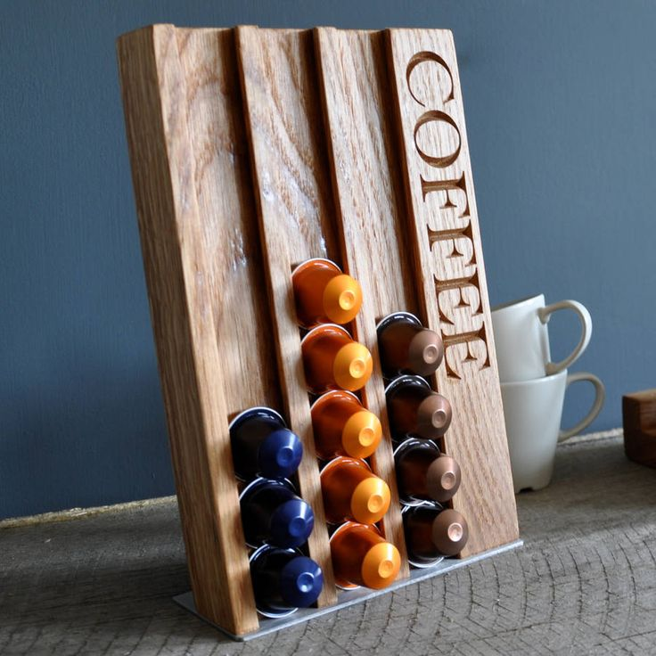Personalised Oak Coffee Pod Rack from notonthehighstreet.com