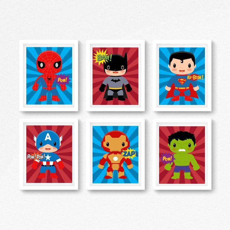 Superhero Wall Art  Superhero Prints  Boys Bedroom Decor  Superhero Bedroom  Art  Superhero. 17 Best ideas about Boys Superhero Bedroom on Pinterest