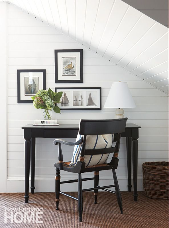 edgartown historic home writing nook with white plank walls and black painted furniture