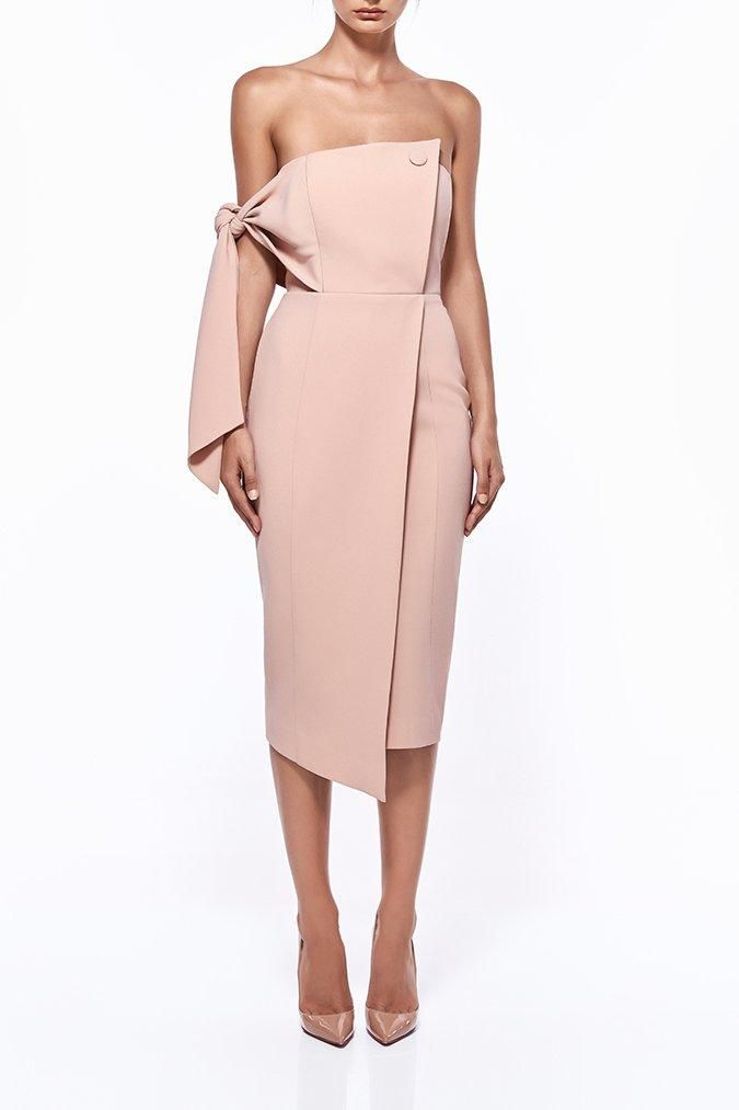 Misha Collection - Romi Structured Midi Dress - Blush Pink