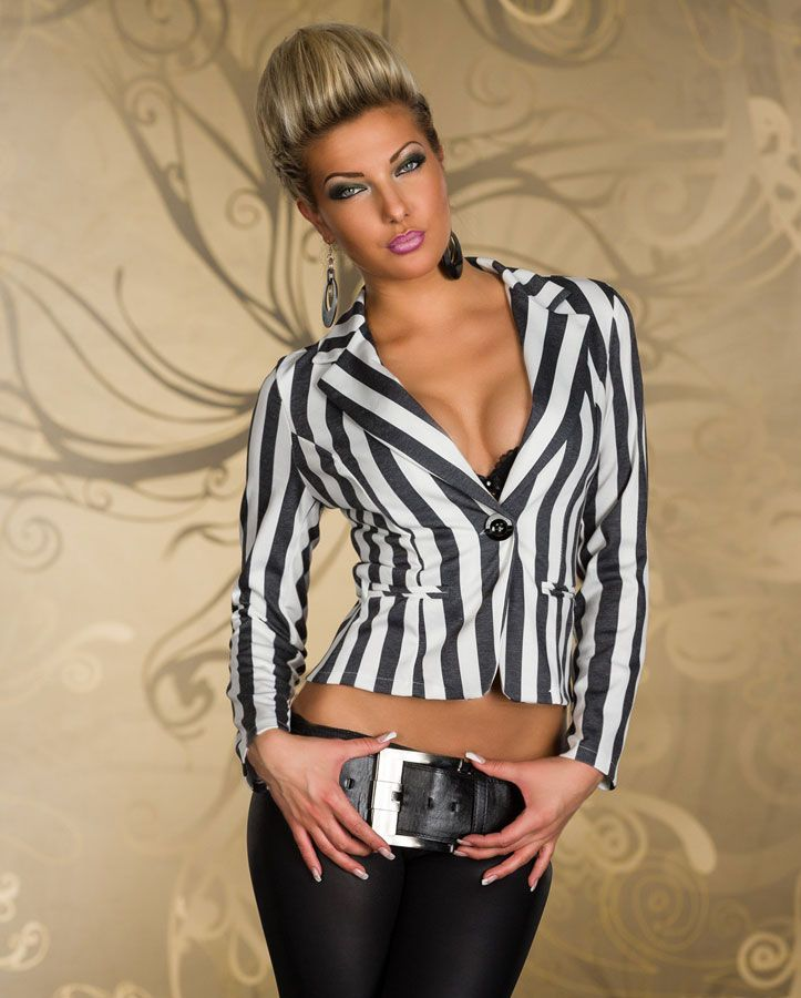 blazer femme raye noir et blanc par veste top femme et haut de soir e. Black Bedroom Furniture Sets. Home Design Ideas