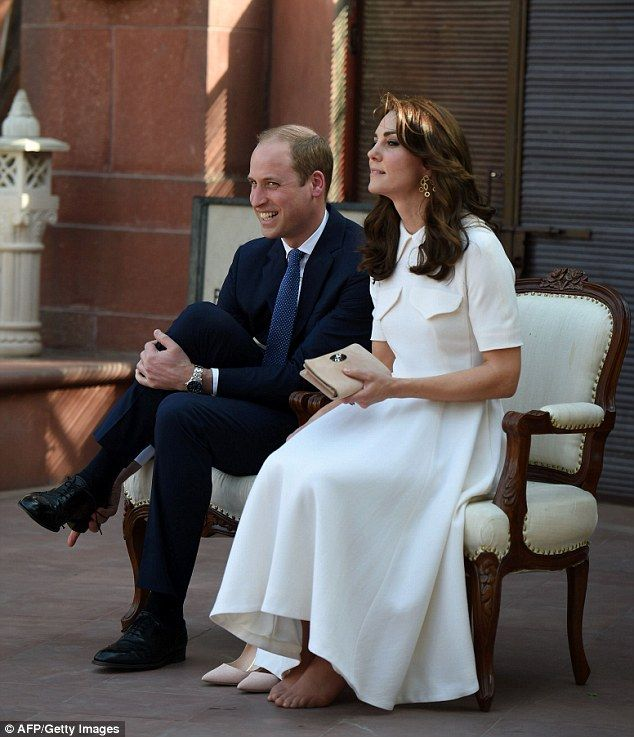 The Duchess, who is on a seven day official visit to India and Bhutan with Prince William slipped off her shoes during a visit to the Gandhi Smiriti museum this afternoon, revealing her unpolished toes