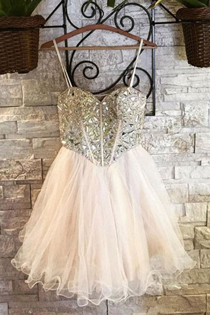 Ivory tulle + silver beading short prom dress for straps, homecoming party dress