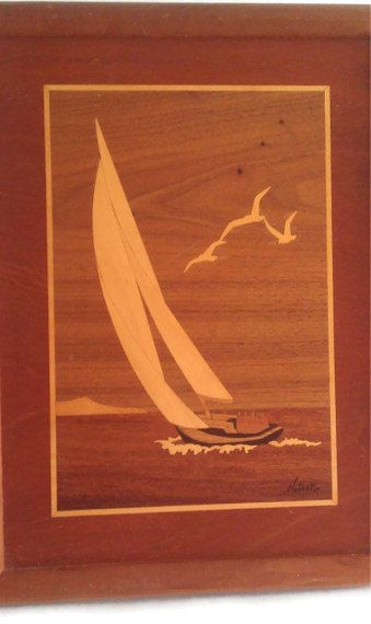 Marquetry Sailboat Art Nautical Wood Art