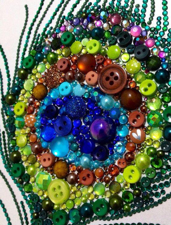 8x10 Peacock Feather Button Art Button & Swarovski Art