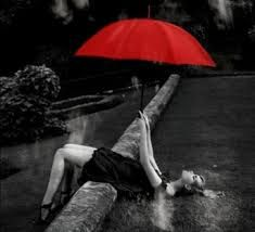 black and white photography with red umbrella google