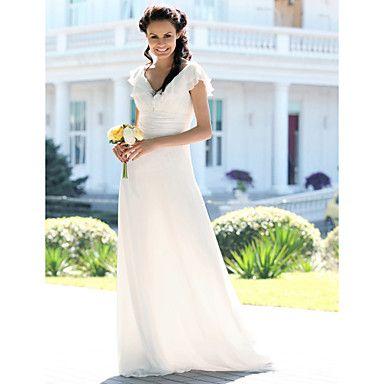 SIMPLE AND IN THE BUDGET!!!!!  Sheath/ Column V-neck Floor-length Chiffon Elastic Satin Wedding Dress – USD $ 179.99