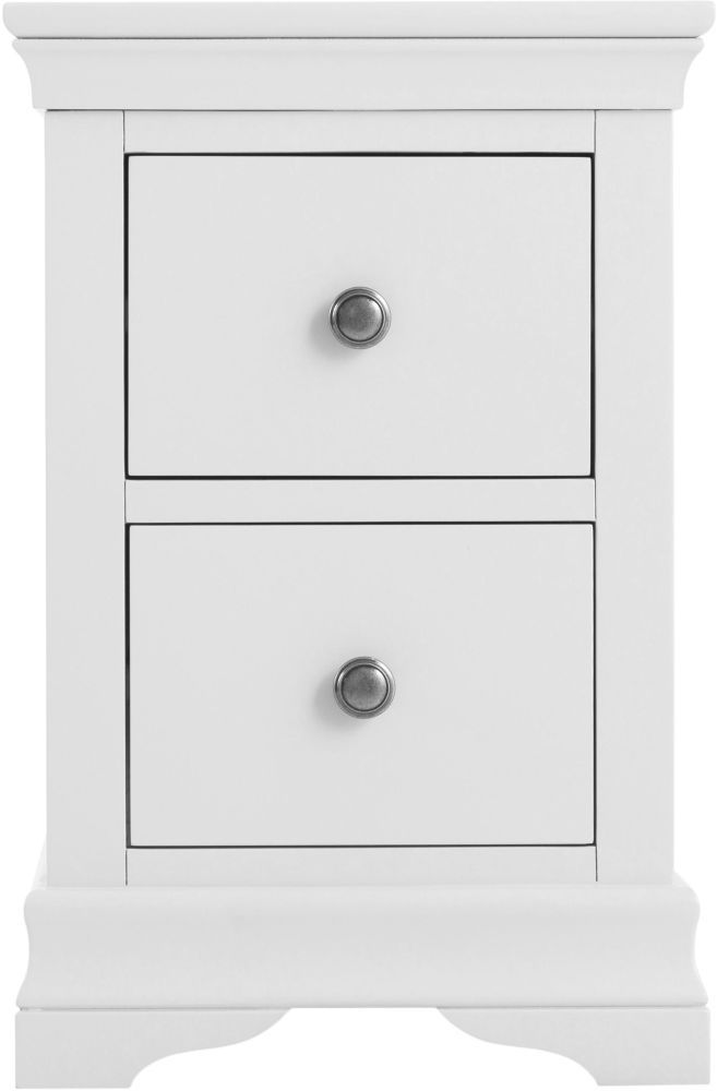 Chantilly White Painted 2 Drawer Narrow Bedside Cabinet Narrow Bedside Cabinets Bedside Cabinet White Paints