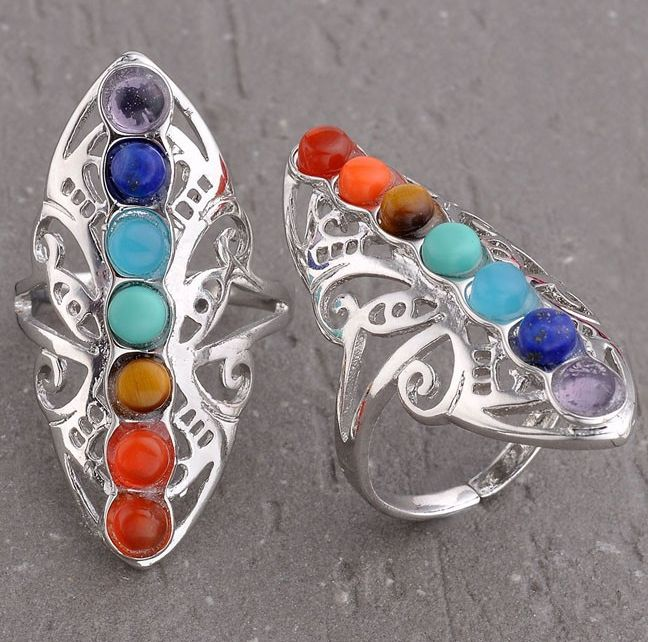 Chakra Ring Each ring with 7 different healing crystals! Amethyst, Sodalite, Aquamarine, Turquoise, Tigers Eye, Amber, Red Jasper FREE SHIPPING! Making a spiritual connection with the crystal helps to