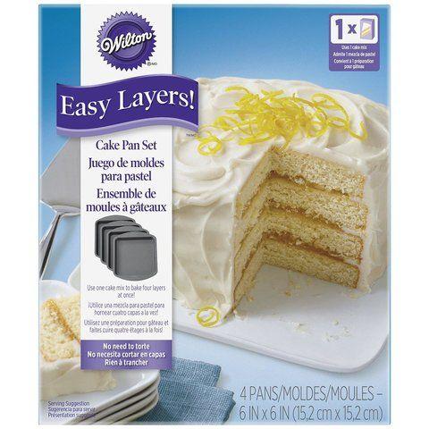4 tlg.Kuchenformen Set 15 cm quadratisch - einfach Schichten