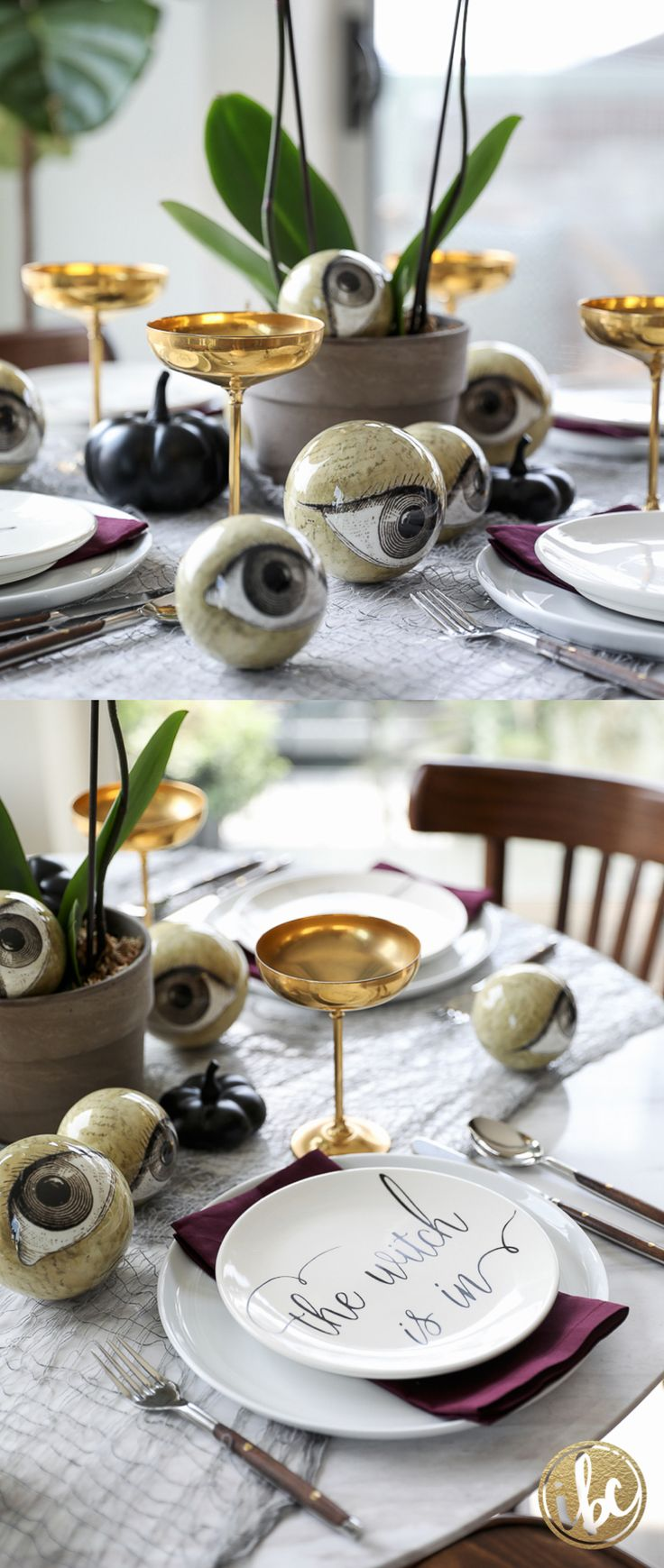 Wicked and Eclectic Halloween Table Setting - spooky chic table decorating ideas #halloween #table #entertaining #spooky #chich