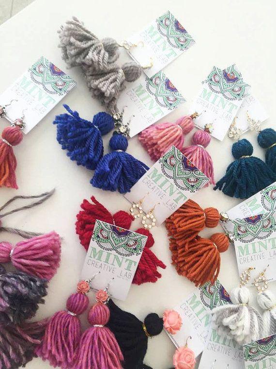 Mint Earrings  Handmade wool tassels earrings
