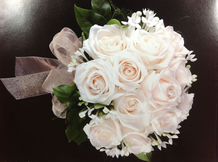 White rose and bouvardia bridal bouquet