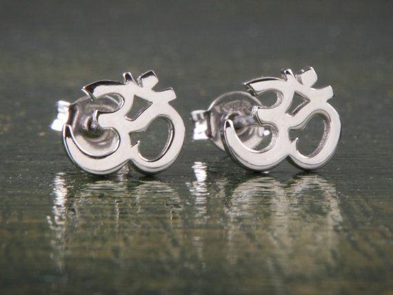 Om Earrings Yoga Earrings Silver Yoga Silver Studs by Wavejewels