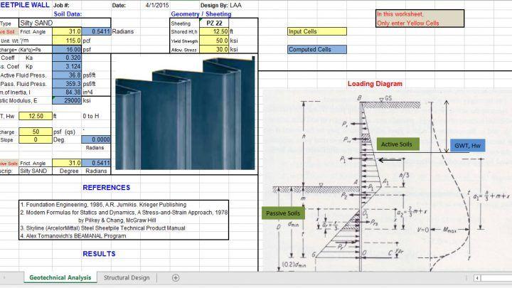 Sheet Pile Design Spreadsheet Wall Design Design Sheet
