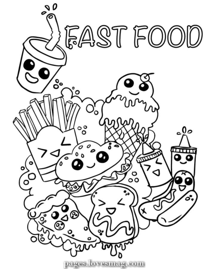 Fast Food Coloring Pages : coloring, pages, Great, Emoji, Quick, Meals, Lovely, Printable, Coloring, Pages,, Doodle, Drawing