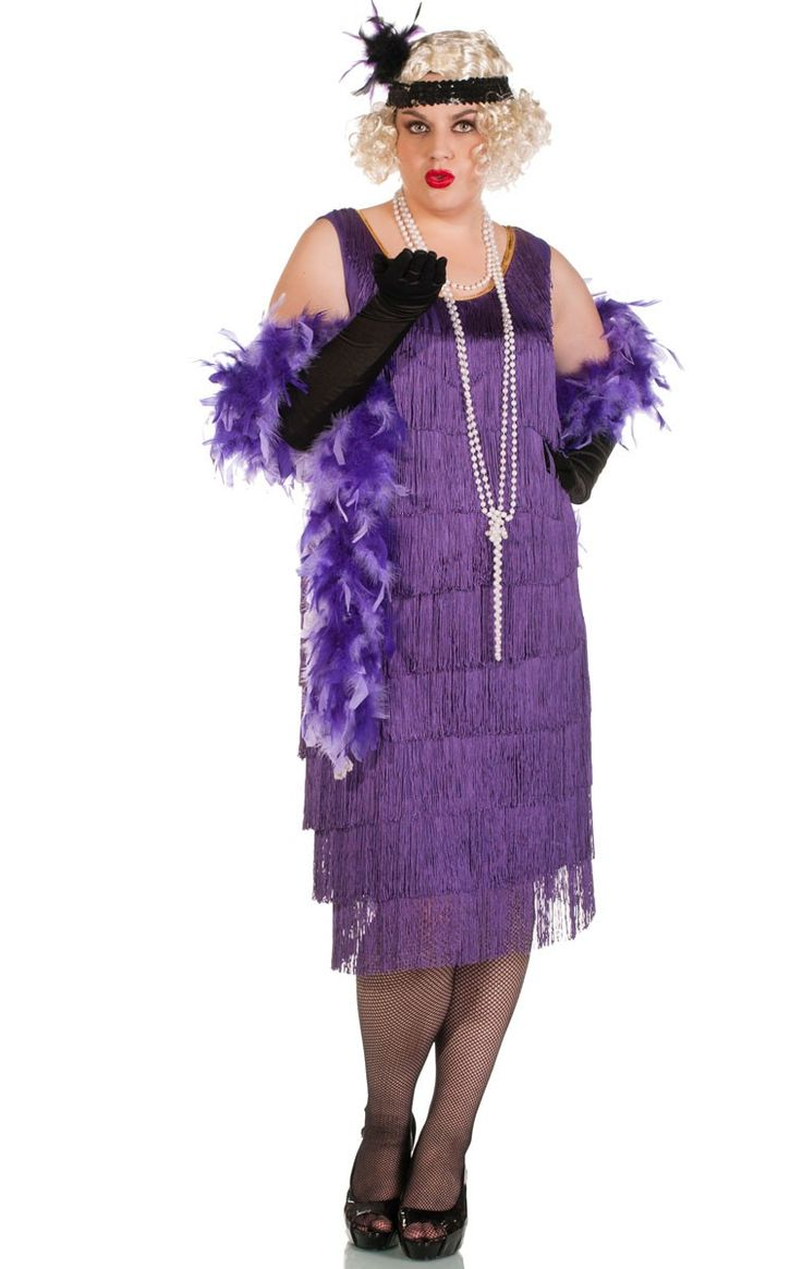 Plus size women's long purple flapper dress costume for those who want to look amazing but be a bit modest! Head to your 1920's gangsters and flappers party in this deluxe adult's roaring 20's flapper costume. See below for full description and size details.