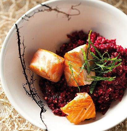 Season to taste and serve our pan-fried salmon with beetroot quinoa salad and shredded fresh mint.