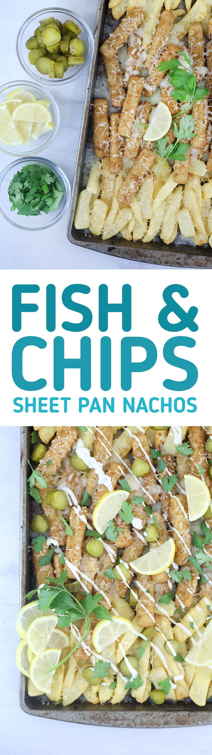 Fish & Chips Sheet Pan Nachos. Yummy flavor combo that you HAVE to try. Gorton's Fish Sticks make this recipe rock!  #ad