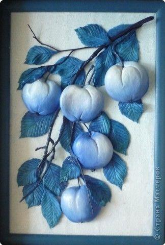 Картина панно рисунок Лепка Эх яблочки  Тесто соленое фото 5