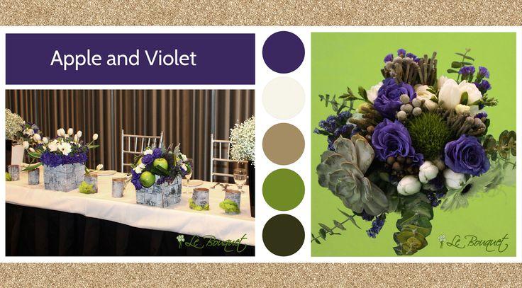 Apple & Violet style board by Le Bouquet Weddings | Le Bouquet St-Laurent Florist
