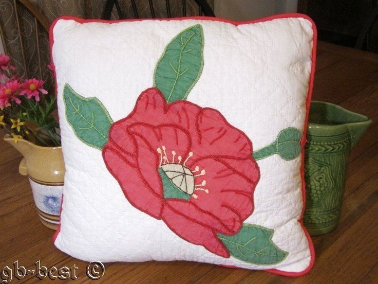 Romantic 30s Applique Pink Poppy Antique Quilt Pillow Wrapped in Bows 2 | eBay
