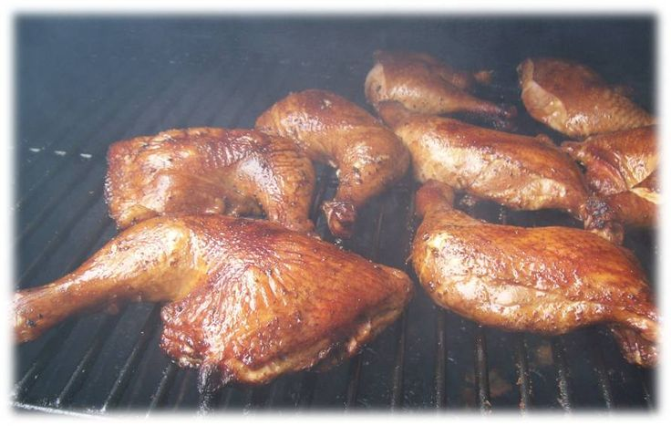 Smoked Chicken Quarters - This recipe begins with a brine in order to suck moisture into the meat and keep it tender while cooking. Warm a pot of water and mix your salt and sugar until dissolved. Let the mixture cool and add your chicken quarters to the water. Let the chicken brine in the salty sweet mixture for at least 6 hours. Light your smoker to 220 degrees and mix oil and remaining dry rub seasoning ingredients thoroughly in a bowl. Rub olive oil and seasoning mixture to fully coat…