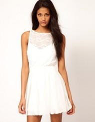 TFNC Skater Dress with Textured Mesh Top LWD