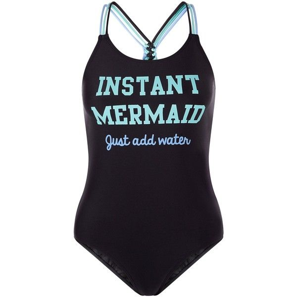 New Look Teens Black Instant Mermaid Print Swimsuit (£13) ❤ liked on Polyvore featuring swimwear, one-piece swimsuits, swimsuits, black, swim wear, print swimwear, print swimsuit, print one piece swimsuit, bathing suit swimwear and swim suits