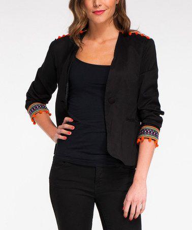 Look at this #zulilyfind! Black Pom-Pom Jacket #zulilyfinds
