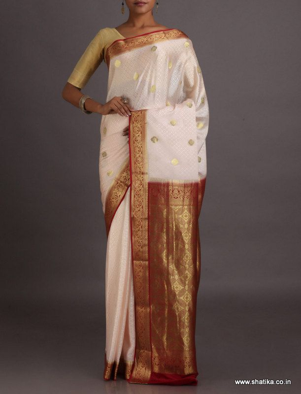 Gayatri White And Red With Bold Golden Bootis #MysoreSilkSaree