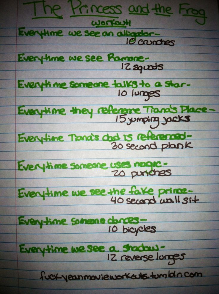 Princess and the Frog movie workout!