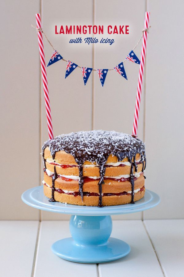 Lamington Cake with Milo Icing for Australia Day. And also has a printable for Australian Flag bunting. http://loveswah.com/2015/01/lamington-cake-with-milo-icing-for-australia-day/