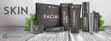 La gamme Visage IT WORKS GLOBAL  -Le WRAP Applicateur visage -Le Gel Nettoyant CLEANSER  -Toner Spray Equilibre du PH -Le Préventage (crème de jour) -Le Repairage (crème de nuit) - Le Lip & Eye - Le Stretch Mark  http://www.wrap-iwg-minceur.net
