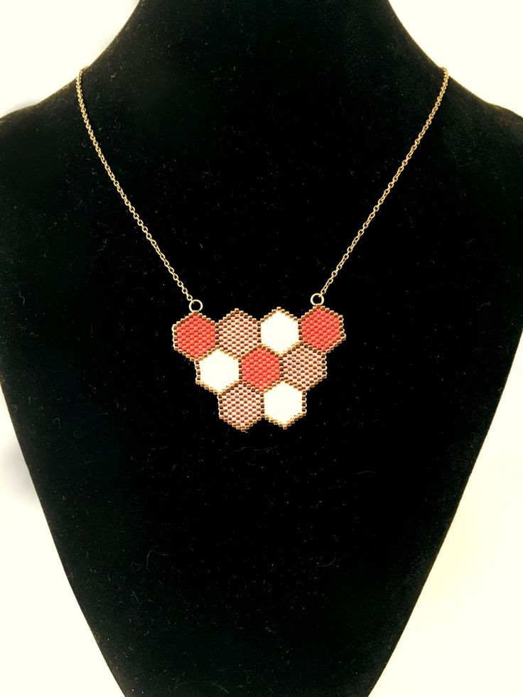 Red white and bronze honeycomb necklace by AxetteDesign on Etsy