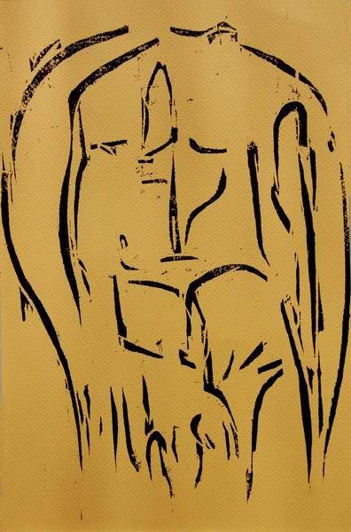 Original Woodcut Nude Man Woodcut Nude Male Nude by evartstudio