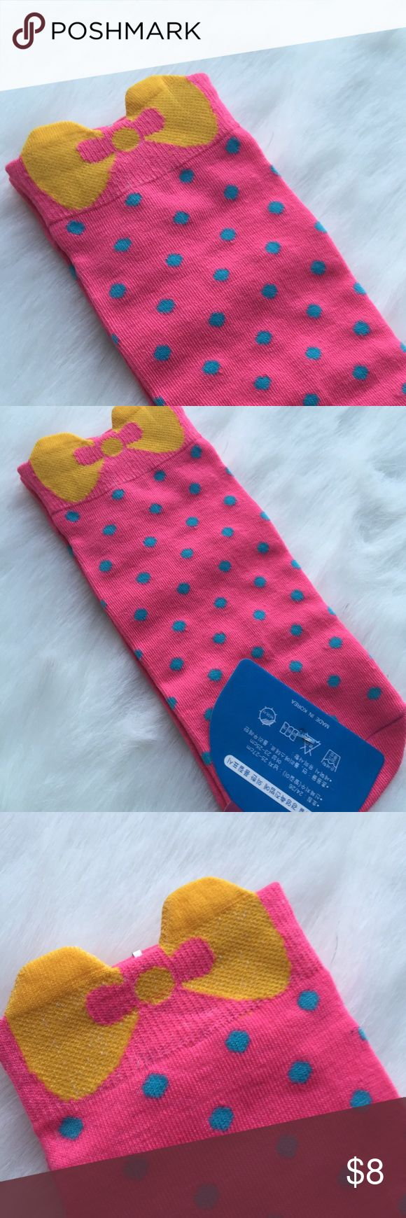 ➰ NEW LISTING ➰ These socks are too cute! Pink background with a spray of polka dots and a mustard yellow bow at the top. Brand new, never worn. Accessories Hosiery & Socks
